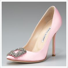 """Most fashionistas will remember this iconic pair of Manolo Blahniks as Carrie Bradshaw's """"something blue"""", but I'm lusting after the light pink variation!"""