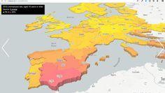 #Mapas #3D #Europa El paro en Europa en un mapa 3D