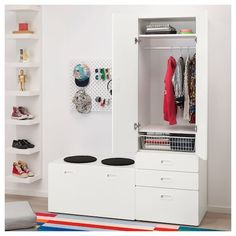STUVA / FRITIDS Wardrobe with storage bench, white, light blue, A big box for toys and a spacious wardrobe for both hanging and folded clothes. Clothes Rail, Hanging Clothes, Childrens Storage Units, Changing Table With Drawers, Kids Clothes Storage, Ikea Stuva, Armoire Ikea, Bookcase With Drawers, Painted Benches