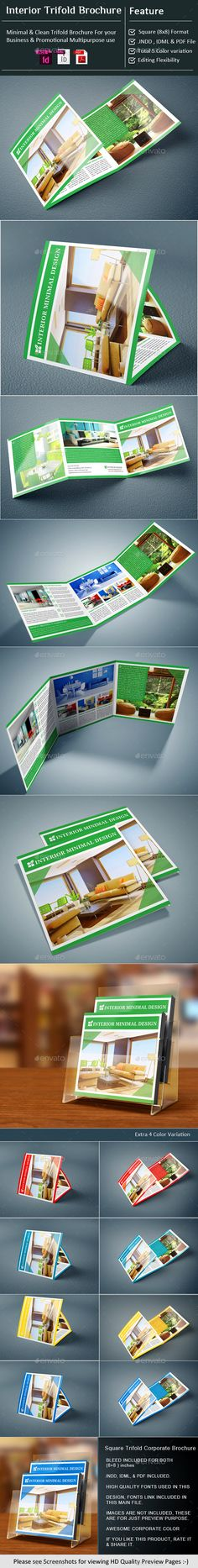 InDesign - Interior Square Tri-Fold Brochure Template #design Download: http://graphicriver.net/item/indesign-interior-square-trifold-brochure/11704767?ref=ksioks