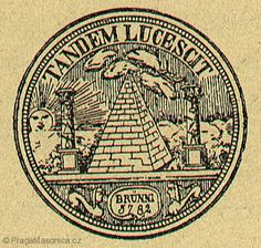 "Masonic seal : Pyramid between two pillars which are decorated with Masonic symbols. Above left a raising and radiating sun. At right clouds. Below left and right a sphinx and in the middle the word: BRUNNI 5782 (""1782""). Above text: TANDEM LUCESCIT (""At last it`s getting Light."")     Also in 1782 : The Congress of Wilhelmsbad convened, and congress approved the first Great Seal of the United States."