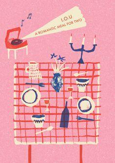 Postcard - Illustration: Louise Lockhart  #romantic #love #valentine