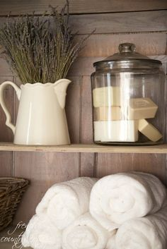 FRENCH COUNTRY COTTAGE: How to Style Shelves-love the big jar with the soaps