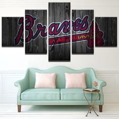 5 Piece Atlanta Braves Baseball Canvas Wall Art Painting Frames Sets Canvas Artwork, Canvas Frame, Canvas Wall Art, Wall Art Prints, Canvas Canvas, Baseball Canvas, Baseball Wall Art, Braves Baseball, Football