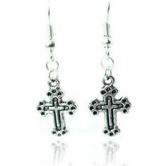 Boucles argentées croix #boucles d'oreilles #bijoux #croix