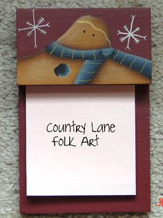gingerbread post it note holder hand painted by countrylanefolkart, $10.00