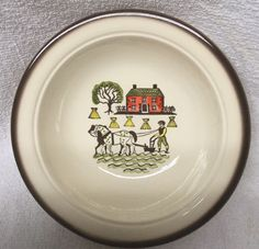 Metlox Poppytrail Vegetable serving Bowl HOMESTEAD PROVINCIAL man&plow Brown Bnd #Metlox