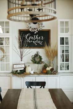 Custom Built Modern Farmhouse Home Tour with Household No 6 White built in storage display, Gather chalkboard, cottn wreath, chadlier & grain sack runner drapped farm table dining Farmhouse Homes, Modern Farmhouse Style, Fresh Farmhouse, Farmhouse Decor, Modern Rustic, Farmhouse Ideas, Farmhouse Signs, Modern Country, Country Living