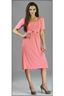 "Bailey in Coral Nice length and rounded neckline. This dress comes in navy or mint as well. The dress is 40-41 1/2"" long, depending on size."