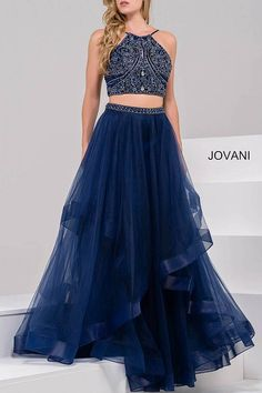 Two-Piece Embellished Tulle Prom Gown 46404