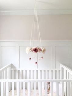 mauve blush nursery flower mobile crib mobile baby girl mobile pink baby mobile floral chandelier vintage baby mobile nursery decor - Baby Girl Room Chandelier