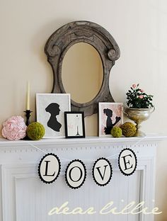 Sweet Valentine Mantle with Silhouettes