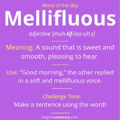 Mellifluous Meaning and Example Advanced English Vocabulary, Learn English Grammar, Learn English Words, English Language Learning, English Lessons, Grammar And Vocabulary, English Vocabulary Words, English Phrases, English Idioms