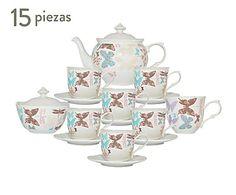 Juego de té en porcelana Butterfly - 15 piezas
