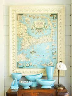 Use cool vintage frames to show off maps of special places you visit. I have a surfers treasure map of Florida in my sons room as a shout out to my home state and place we were married. Going to get an Ireland map for honeymoon.