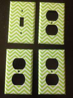 Lime Green And White Chevron Striped Single by COUTURELIGHTPLATES, $13.95 bedroom decor, bathroom decor , shabby chic, teen room decor