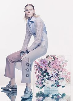 Balenciaga ruffle-collar top. Louis Vuitton wool pants.  Marc Jacobs shoes.