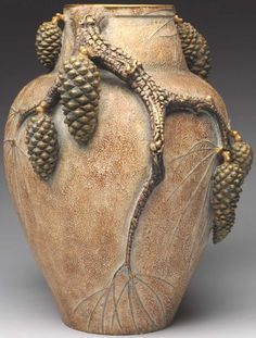 Amphora Vase, Applied Pinecone, by Paul Dachsel