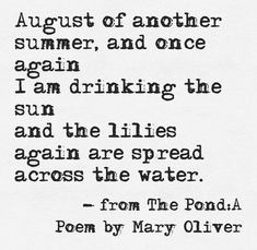 Pretty Words, Beautiful Words, Beautiful Life, Mary Oliver Poems, Hello August, October, Lily Pond, Summer Memories, Months In A Year