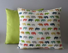 Colourful decorative pillow cover with elephants - Ellen's Alley