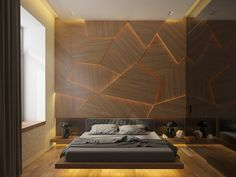 bedroom wall decor, asymmetrical wooden shapes, lit from behind, decorating one wall of a room, with modern furniture and bed