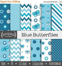 80% OFF SALE Blue Butterfly Digital Paper Pack by Pininkie on Etsy
