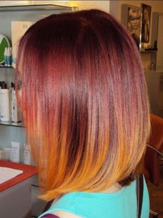 Top ombre hair colors for bob hairstyles - popular haircuts Long Bob Haircuts, Straight Hairstyles, Trendy Haircuts, Popular Haircuts, Pretty Hairstyles, Smokey Blond, Red Ombre Hair, Ombre Bob, Orange Ombre