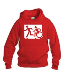 Accessible Means of Egress Icon (Running Man and Wheelie Man Left Hand) Wheelchair Exit Sign Design Sweatshirts, Cart, Cotton, Running Man, Emergency Exit Signs, Hall Runner, Hoodies, Sweatshirt, Body Suits