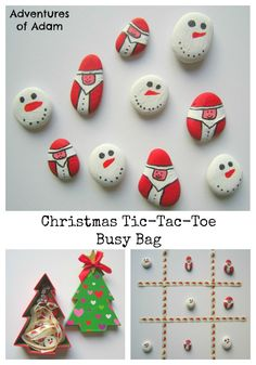 Christmas Tic-Tac-Toe Busy Bag An easy DIY craft to create Father Christmas and Snowmen pebbles. A great activity to occupy little ones during the festive season.