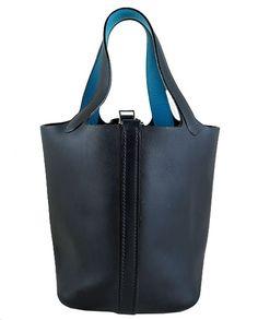 Hermes Picotin Bicolour Blue Barenia Leather Evening Bag - Rare