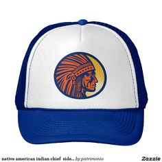 native american indian chief  side view. Trucker hat with an illustration of a native American Indian chief facing side view set inside circle done in retro style. #nativeamerican #indian #truckerhat