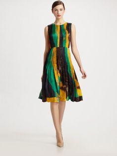 Oscar de la Renta printed silk dress.  For the brushstrokes fabric?