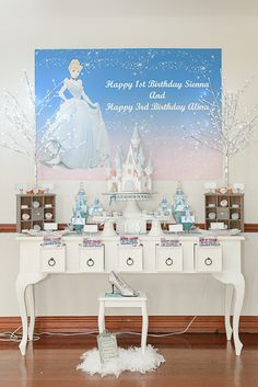 Princess Cinderella Birthday Party - The banner. Cinderella Birthday, Princess Birthday, Girl Birthday, Cinderella Theme, Kids Party Themes, Birthday Party Themes, Party Ideas, Birthday Ideas, Birthday Cake Pops