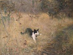 """Cat Hunting"", 1883, Bruno Andreas Liljefors"
