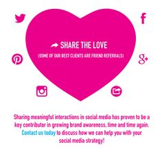 Share the Love! Refer a friend!  Sharing meaningful interactions in social media has proven to be a key contributor in growing brand awareness, time and time again? Contact us today to discuss how we can help you with your?social media strategy!  FROM YOUR FRIENDS AT 43DPI CREATIVE  WWW.43DPI.COM 212.858.9433 info@43dpi.com   #branding #marketing #strategy #graphicdesign #design #logo #logodesign