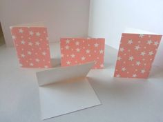 Sets of 4 - Coral/Pink with White Stars Folded Gift Tags