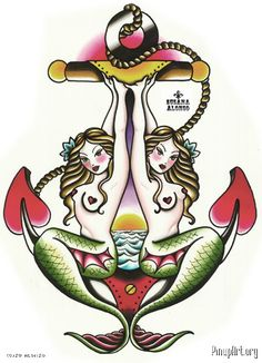 Two mermaids as anchor old school traditional Tattoo Flash Art ...