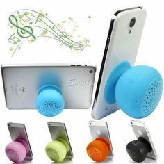 Silicone-Bluetooth-Wireless-Speaker-Handsfree-Microphone-Sucker-For-iPhone-4S-5S
