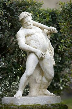 Humorous marble statue from the ruins of Herculaneum, destroyed by the eruption of Mt. Vesuvius, 79 A.D., Italy