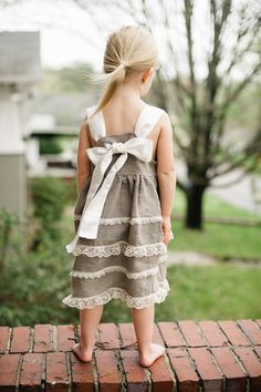 Linen and Lace Dress - Special Occasion Dress - Size 2T to 5T. $55.00, via Etsy.