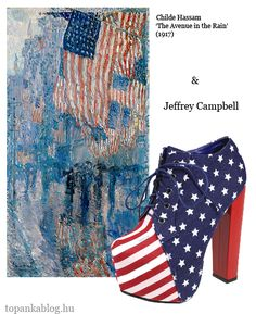 Painting by Childe Hassam, shoes by Jeffrey Campbell  - 4th of July Independence Day shoes