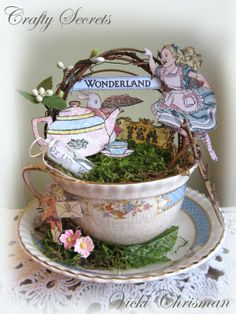 Tea with Alice ~ Teacup with art stamps