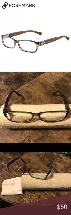 Jimmy Choo   Eyeglasses JC 41 Prescription eyeglasses from Jimmy Choo. Use the frames and get your RX lenses put in. I believe the RX that's in these is -2.25 each eye.  Comes with original case and duster cloth.  All stones are intact! 100% authentic originally from Lens Crafters. Jimmy Choo Accessories Glasses