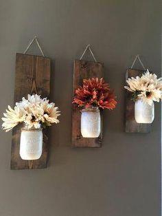 Wall Sconce, Individual Mason Jar Sconce, Flower Vase Mason Jar, Rustic Decor, Painted M. Mason Jar Sconce, Mason Jar Diy, Pots Mason, Diy Home Decor Rustic, Farmhouse Decor, Farmhouse Stairs, Rustic Homes, Farmhouse Style, Farmhouse Ideas