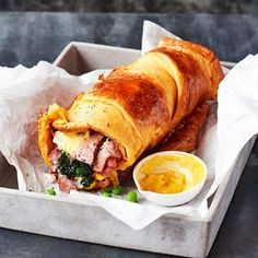 Unbelievably Easy Roasted Beef Recipes Take all the best bits of a roast dinner, and wrap it in a fluffy, indulgent Yorkshire pudding wrap. This takes weekend comfort food to a whole new level Wrap Recipes, Beef Recipes, Cooking Recipes, Healthy Recipes, Fast Recipes, Vegemite Recipes, Bariatric Recipes, Savoury Recipes, Healthy Food