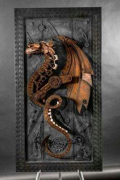 Concept Modeling For Metallic Sculpture : – Picture : – Description Steampunk Dragon by Vintedge artworks – Lance Oscarson -Read More – Design Steampunk, Mode Steampunk, Style Steampunk, Steampunk Cosplay, Steampunk Fashion, Steampunk Clothing, Steampunk Artwork, Gothic Steampunk, Victorian Gothic