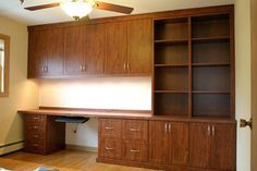 Custom desk and storage by Crooked Oak.