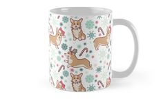'Corgi Christmas' Mug by adelaydeart Corgi Mug, Christmas Mugs, Mug Designs, Sell Your Art, Floor Pillows, Decorative Throw Pillows, Classic Style, Stationery, Christmas Decorations