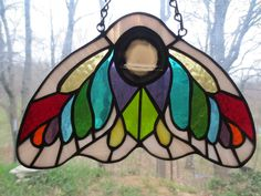Moth Stained Glass Suncatcher by PerizadCreations on Etsy