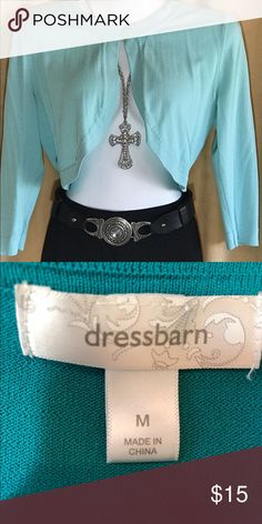 """1 button Shrug Light Aqua Shrug with 3/4 Sleeves. 1 Button with Curved Front. Size M. Approximate Measurements: Armpit to Armpit 17 1/5"""" across lying flat. Stretches. 63% Rayon, 37% Nylon. Machine Wash. Smoke free, Pet free and Perfume/Fragrance Free Home. Excellent Condition. Dress Barn Sweaters Shrugs & Ponchos"""